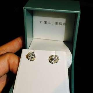 謝瑞麟18K白金鑽石耳環一對