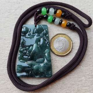 Certified Type A Icy Jadeite Pendant Grade A Myanmar 100% Natural Ice Oily Green Scenery 山水画