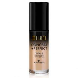 NEW - MILANI CONCEAL & PERFECT FOUNDATION 04 MEDIUM BEIGE
