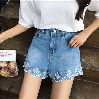 Embroidered Scallop Hem HW Shorts