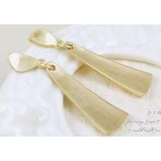 韓國飾品 金色霧面耳飾/耳環