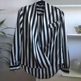 Black and White Striped Fold Blouse
