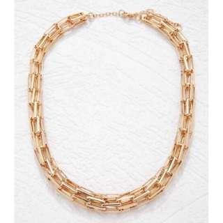 正品 FOREVER 21 Elongated box chain necklace 金色長方形鍊條項鍊