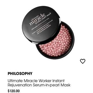 Philosophy Ultimate Miracle Worker Instant Rejuvenation Serum in pearl Mask