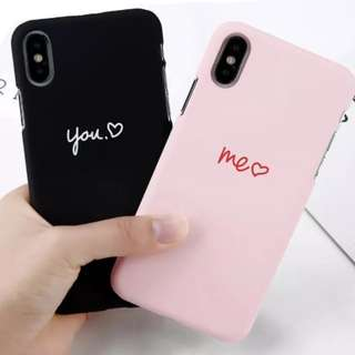 You and Me Couple iPhone X 8 7 6 Plus Case Luxury Black and pink lovely
