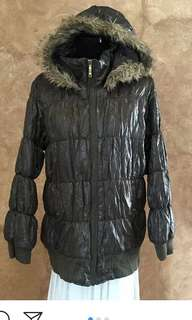 Winter bubble jacket,detachable fur hood