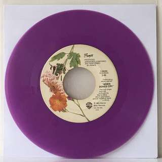 "Prince ‎– When Doves Cry 7"" (1984 USA Original - PURPLE Vinyl is Good Plus)"