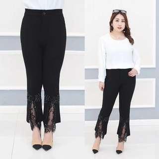 (3XL-6XL)Plus size women's spring new high waist bottom lace line nine pants