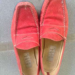 Suede red shoes nine west