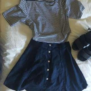 Super cute vintage navy suede skirt