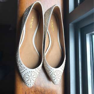 Authentic Coach white leather shoes flats