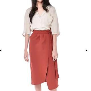 BN TEM jurome belted wrap-front skirt