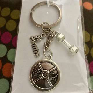 Gym charm keychain (barbell plate, dumbbell)