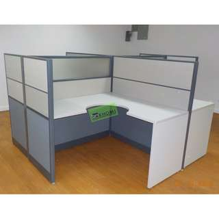 WORKSTATION W PARTITION (FABRIC W GLASS) MOBILE PED CABINET