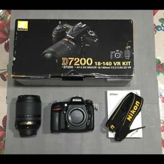 MODEL : NIKON D7200 + kitlens CONDITION: 10/10 , SC 4k+                     :Complete accessories with box  INCLUSIONS: 8G MCard +  ISSUES: No Camera Issue  RFS: upgrade camera
