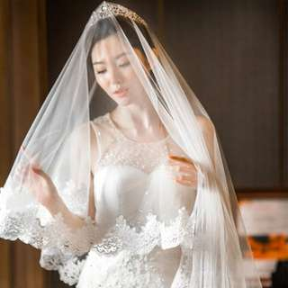Pre-order corded lace wedding veil
