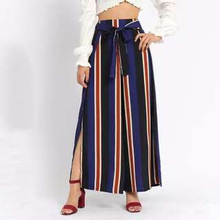 Striped Flare Pants with slit sides