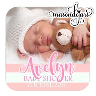 Baby photo stickers label for baby shower full month