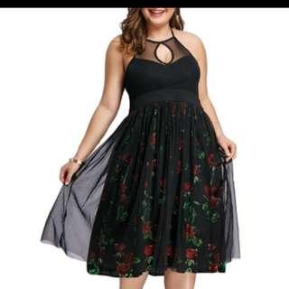PLUS SIZE Floral Print Halter Neck Dress