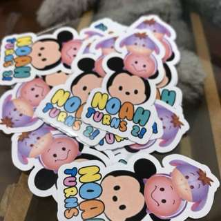 Customised birthday party stickers labels Tsum Tsum