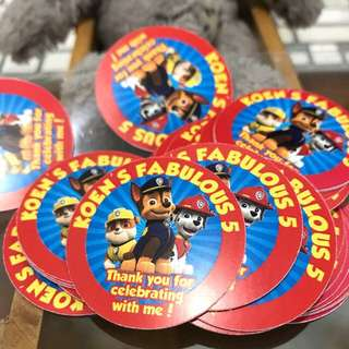 Paw Patrol customise birthday party stickers labels