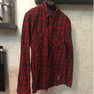 ADIDAS red plaid long sleeve shirt, trefoil street wear
