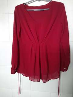 Maroon Chiffon Long Sleeve Top
