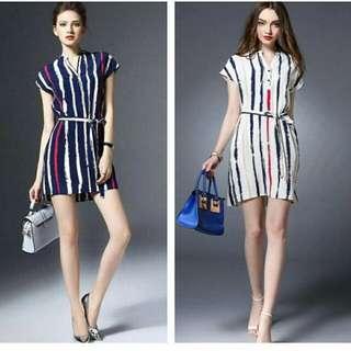 Color Stripe Waisted String Polo Dress