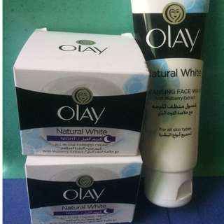 Olay Natural White With Mulberry Extract Cleansing Face Wash & Night Cream
