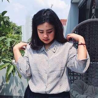 FREE ONGKIR - vintage grey blouse