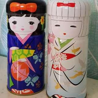 🚚 日本茶現貨 日本娃娃人型茶罐 日本國產抹茶入玄米茶 菱和園日本茶和服娃娃款