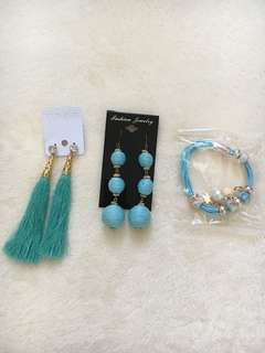 tassel and bead earrings + bracelet