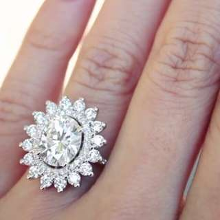 Diamond Vintage flower ring lab created Wedding Engagement rings
