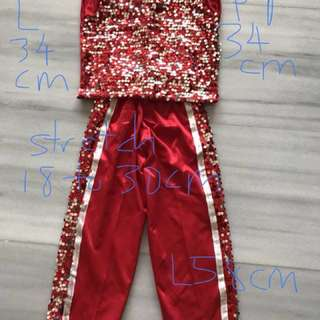 Party clothes red shimmer sequins