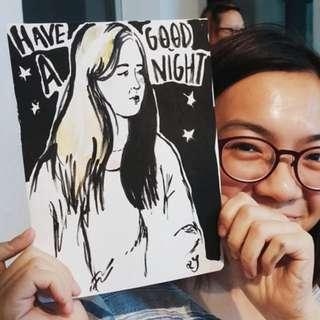 "Custom Hand Drawn Portrait Illustration (6""x4"")"