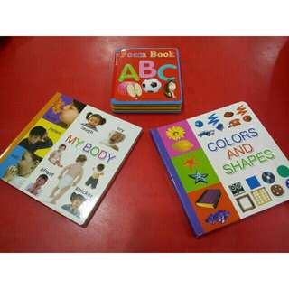 5 pieces assorted board books/flash card/foam book