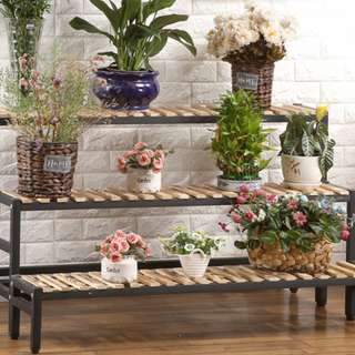 Multiple levels rack wood/metal frame for plants or shoes!