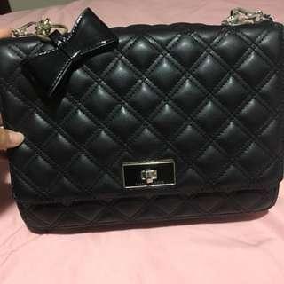 Black leather  chain bag