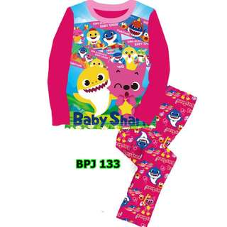 Baby Shark dark pink pyjamas set