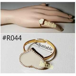 ® Ring ® : Adjustable : White Heart : Golden : Womens : Ladies : Female : Girls : Accessories : R44 : 戒指