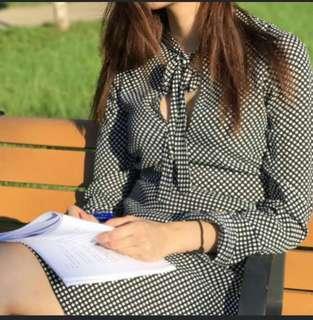 全新Zara 黑白波點蝴蝶袖懐舊中長裙