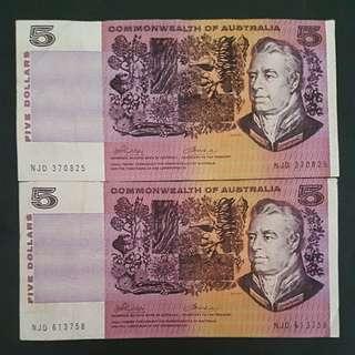 X2 Phillips/Wheeler $5 Notes