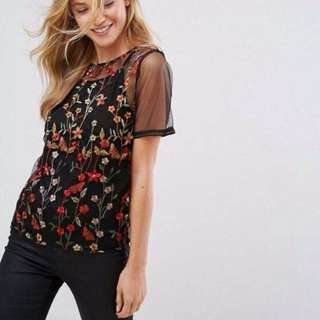 2 in1 Embroidered Sheer Blouse