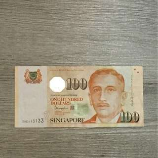 Nice number $100 Singapore note