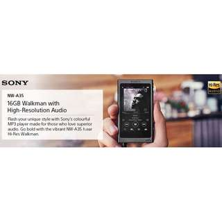 SONY 索尼 NW-A35 HI-RES AUDIO PLAYER BLACK/RED/PINK/BLUE 黑/紅/粉/籃 7天有壞包換