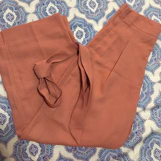 High-Waisted Cropped Slim Loose Pants