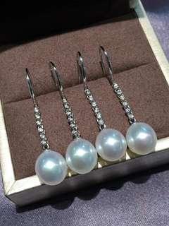 澳洲白珠耳環9-10mm 白白亮亮 18K鑲嵌鑽石💎 粉粉亮亮 細膩光滑乾淨 💰💰優惠價發售,歡迎咨詢訂購😊