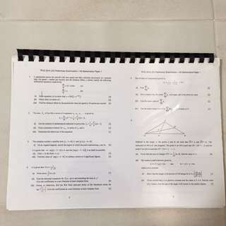 H2 math prelim papers for 2015