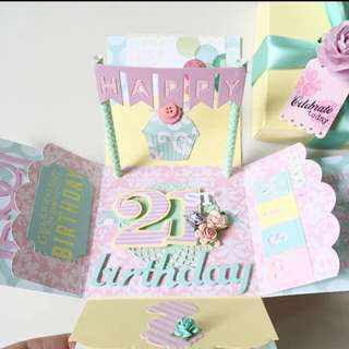 Happy 21st Birthday Explosion Box Card in Pastel Color