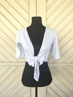 Ribbon Crop Top - White